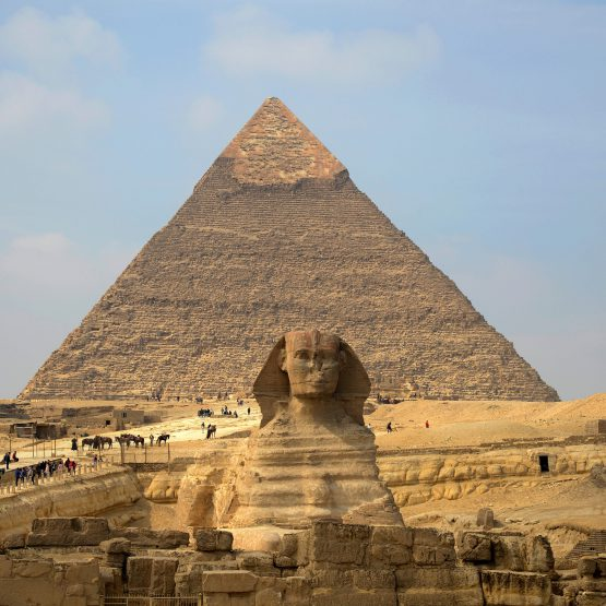 sphinx with pyramids background